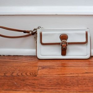 White Leather Coach Wristlet